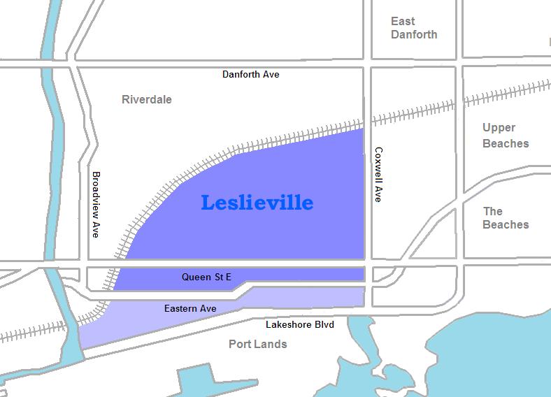 Leslieville map, Toronto Ontario