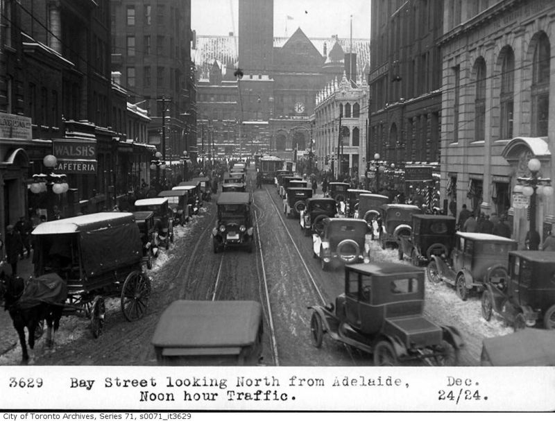 Bay Street looking north from Adelaide1924 Toronto Ontario