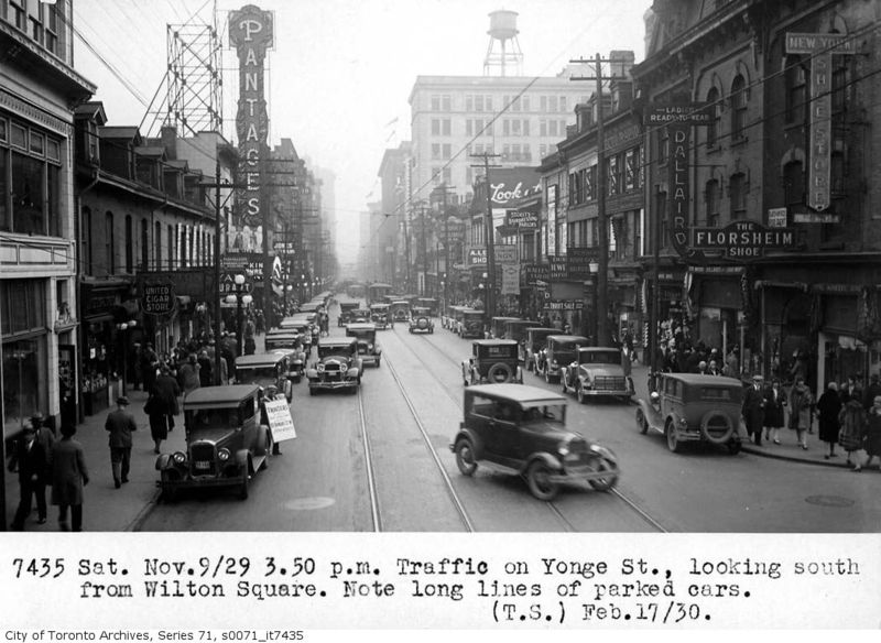 Yonge Street looking south from Dundas (then Wilton Square)1930 Toronto Ontario