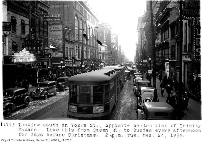 Yonge St looking south at Trinity Square 1935 Toronto Ontario